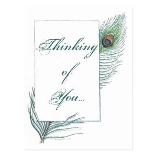 Pensamiento en usted pluma del pavo real inspirada postales