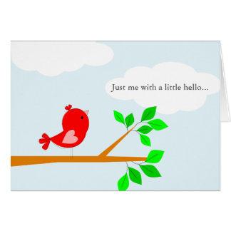Pensamiento en usted poco hola tarjeta roja del pá