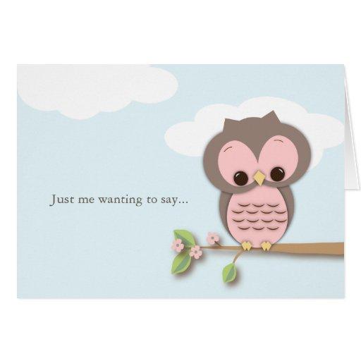 Pensamiento en usted poco hola tarjeta rosada del