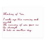 Pensamiento en usted poema postal