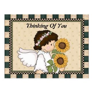 Pensamiento en usted postal del ángel