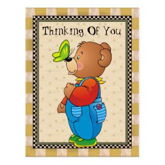 Pensamiento en usted postal del oso del país