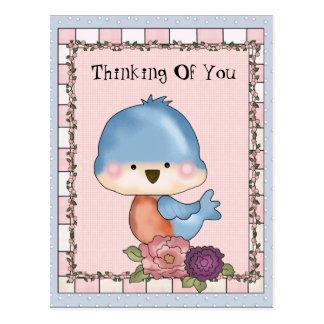 Pensamiento en usted postal del pájaro