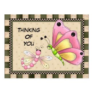 Pensamiento en usted postal del saludo