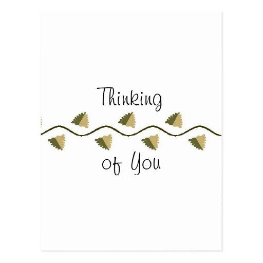 Pensamiento en usted postal elegante del diseño si