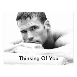 Pensamiento en usted postal - trozo masculino