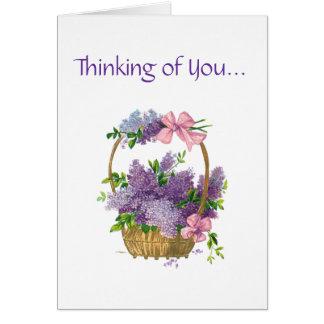 Pensamiento en usted ramo floral del vintage retro tarjeta de felicitación