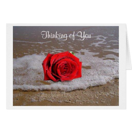 Pensamiento en usted rosa rojo en tarjeta de felic
