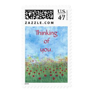 Pensamiento en usted sellos postales de las
