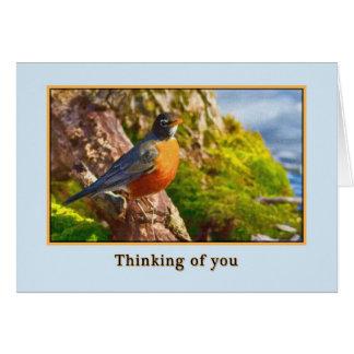 Pensamiento en usted tarjeta con el petirrojo