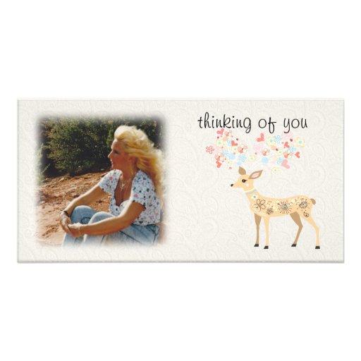 Pensamiento en usted tarjeta de la foto tarjetas fotográficas