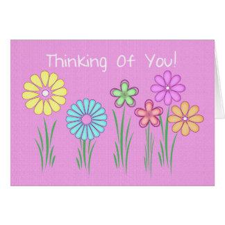 pensamiento en usted tarjeta del greetng con rosa