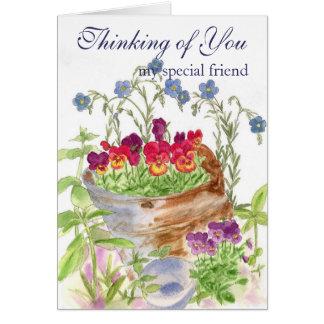 Pensamiento en usted tarjeta del ramo de la flor d