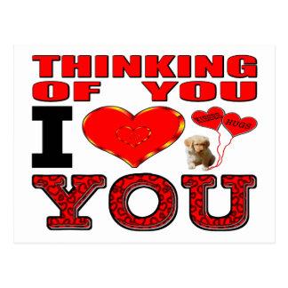 Pensamiento en usted te amo postal