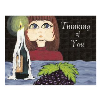 Pensamiento en usted trabajo Cutie de la vela del  Postal