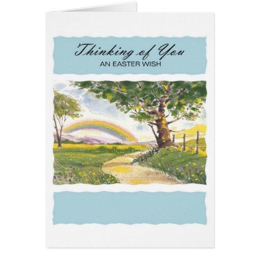 Pensamiento en usted un deseo de Pascua Tarjeton