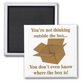 Pensamiento fuera de la caja imán cuadrado