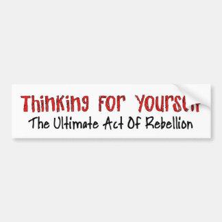 Pensamiento para sí mismo pegatina de parachoque