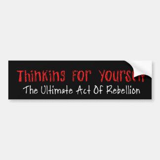 Pensamiento para sí mismo etiqueta de parachoque