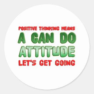Pensamiento positivo pegatina redonda