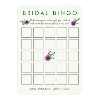 """Pensamiento púrpura nupcial de la tarjeta de juego invitación 5"""" x 7"""""""