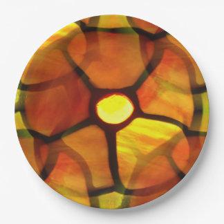 pensamiento repetido del naranja del vitral plato de papel 22,86 cm