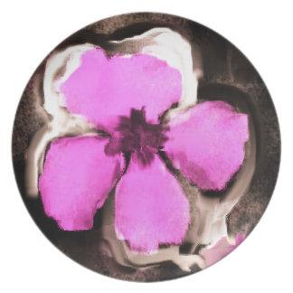 Pensamiento rosado y púrpura plato para fiesta