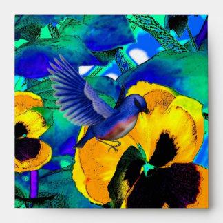 Pensamientos azules mágicos de los pájaros del sob sobres