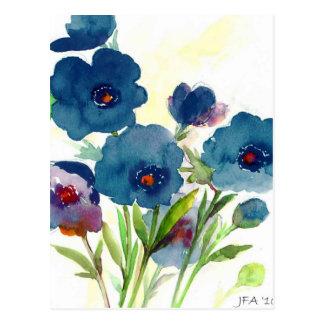Pensamientos azules postal