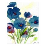 Pensamientos azules tarjetas postales
