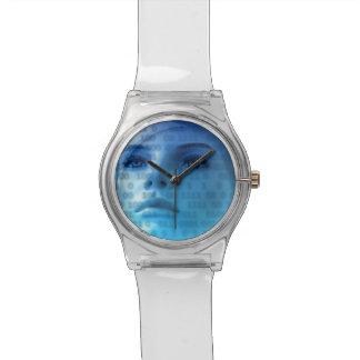 Pensamientos binarios en azul reloj de mano