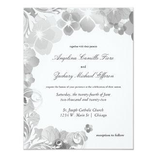 """Pensamientos blancos y negros y boda formal de los invitación 4.25"""" x 5.5"""""""