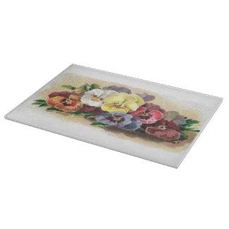 Pensamientos coloridos del vintage florales tabla de cortar