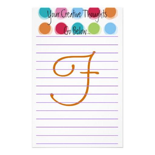 """Pensamientos creativos """"F """" Papelería De Diseño"""