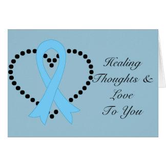 Pensamientos curativos del cáncer de próstata tarjeta de felicitación