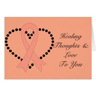 Pensamientos curativos del cáncer uterino tarjeta de felicitación