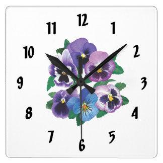 Pensamientos de la púrpura del círculo reloj cuadrado