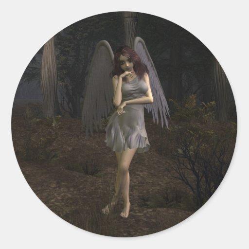 Pensamientos de un ángel oscuro pegatina redonda