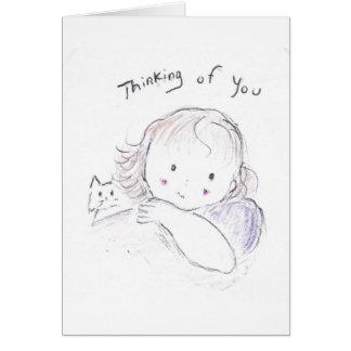 Pensamientos de usted tarjeta de felicitación