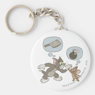 Pensamientos del mal de Tom y Jerry Llavero Redondo Tipo Pin