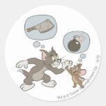 Pensamientos del mal de Tom y Jerry Pegatinas Redondas