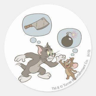 Pensamientos del mal de Tom y Jerry Pegatina Redonda