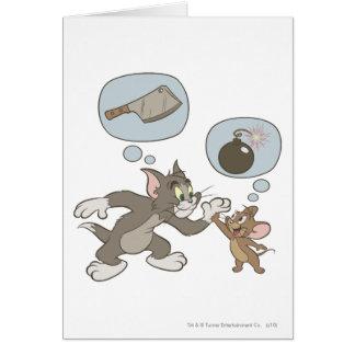 Pensamientos del mal de Tom y Jerry Tarjeta De Felicitación