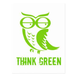 Pensamientos del verde del búho de Día de la Tarjeta Postal