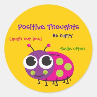 Pensamientos positivos - pegatinas lindos de la pegatina redonda