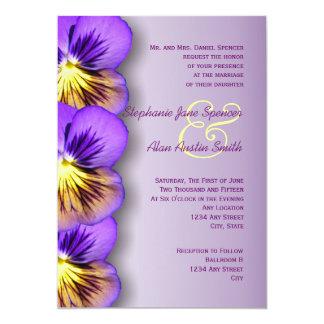 """Pensamientos púrpuras bonitos que casan la invitación 5"""" x 7"""""""