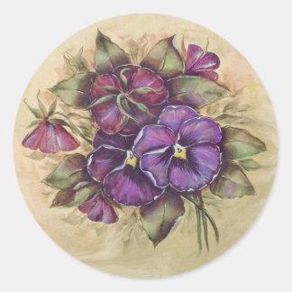 Pensamientos púrpuras pintados a mano pegatina redonda