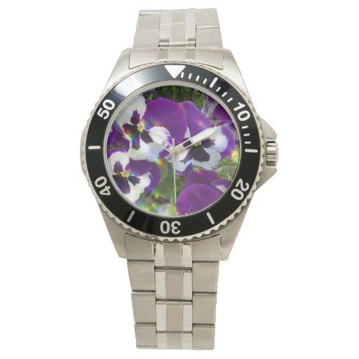 Pensamientos púrpuras reloj de mano