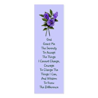 Pensamientos púrpuras rezo de la serenidad tarjeta de visita