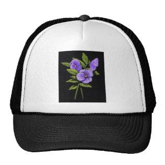 Pensamientos púrpuras: Violas Gorros Bordados